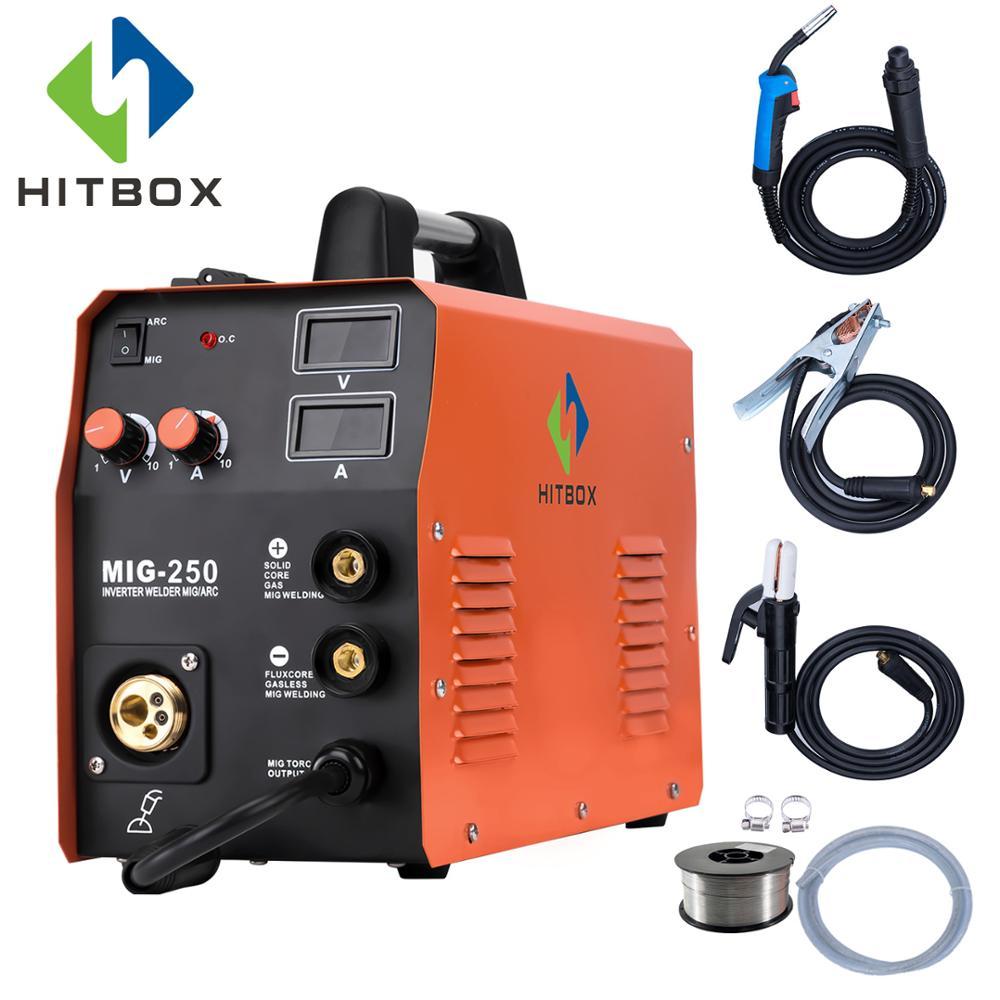 HITBOX Mig Welder MIG250 MIG TIG ARC Welding Machine Gas No Gas Self- Shielded 1kg/5kg/10kg/15kg Wire Mig Welding MIG ARC Welder