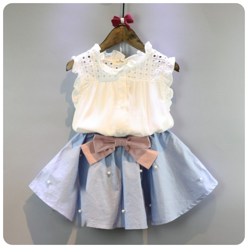 2 8 Years Kids Clothes for Girls The Bow Skirt and Lace ...