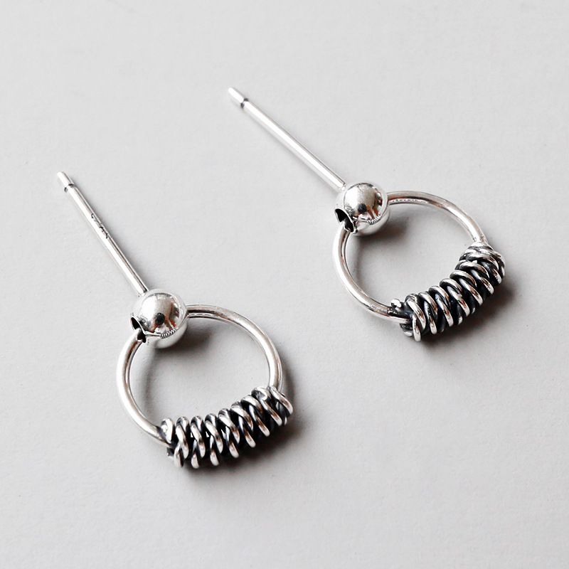 ABC silver, Korean version, S925, simple and retro, old geometric ring, ear studs.