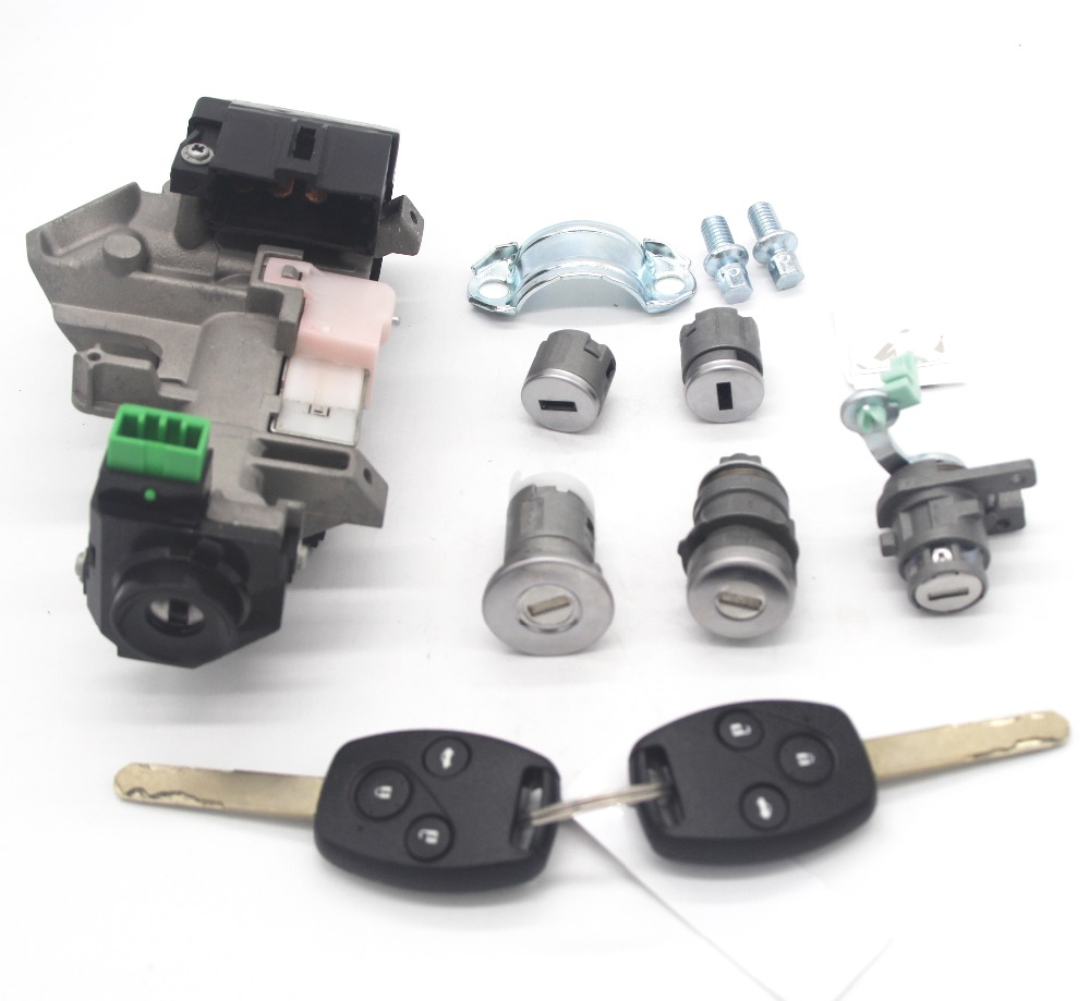 COMPLETE LOCK SET IGNITION SWITCH DOOR LOCK BARREL TRANS 2 KEYS WITH 8E CHIP FOR HONDA ACCORD 2006-2007