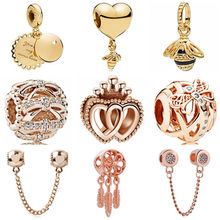 Luxurious Gold Color Big Butterfly Bee Crystal Arrow Hearts Charms Beads Fit Pandora Bracelets & Bangles for Women DIY Making(China)