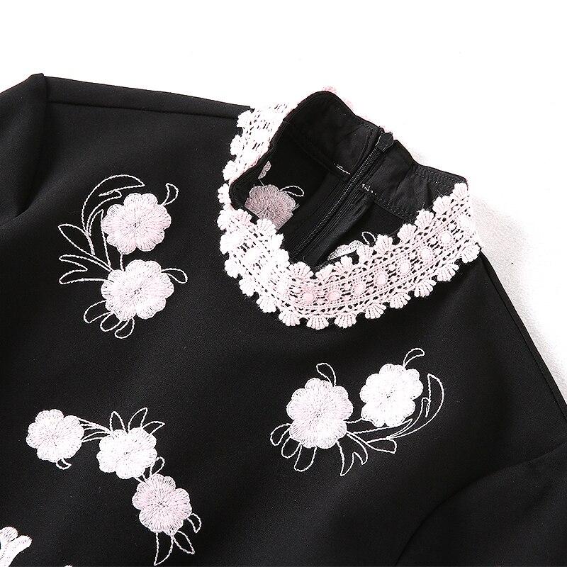 ligne Noir Broderie Genou Europe Mode Automne Floral Dentelle Et Femmes 2018 Arrivée Au Manches A Élégant Nouvelle Longues Robe cqwYpnZ4
