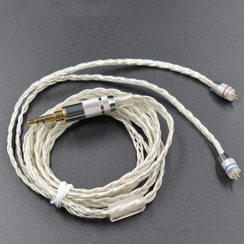 Para KZ ZS10 AS10 BA10 ZS6 ZS5 ZS06 ZST ZSR ZSA ZS4 chapados en plata Cable original KZ Actualización de KZ auricular reemplazar reparación Cables
