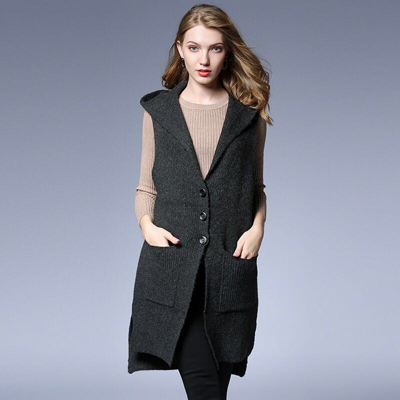 2018 Winter Coats Elegant Maternity Coats Long Hoodies Casual Pregnancy Clothes Pockets Sleeveless Button V-Neck Outerwear grey two side pockets long sleeves outerwear