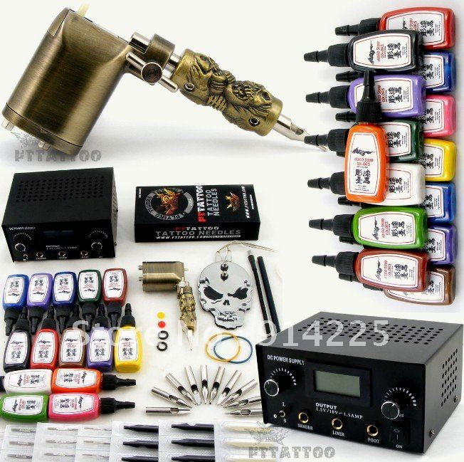 Professional Complete Tattoo Kit 1 Rotary Tattoo Machine Dual ...