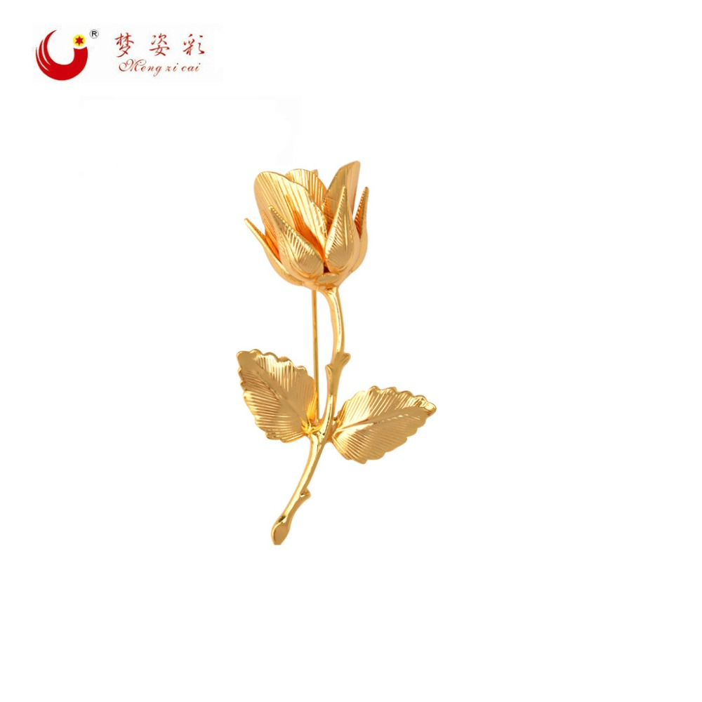 Ny Guld Sølv Blomst Brocher Leaf Rose Brocher Broche Brocher Mujer Akryl Bryllup Broche Til Kvinder Gaver Hijab Pin