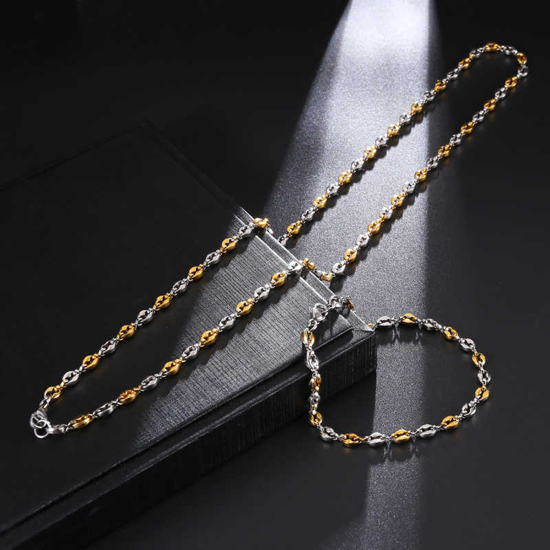 HIP 316L bransoleta ze stali nierdzewnej ziarna kawy Link Chain bransoletka dla mężczyzn biżuteria 4.5MM 21.5CM męskie bransoletki bransoletki złoto