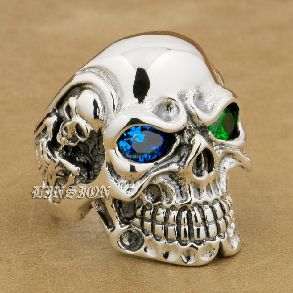 Здесь можно купить  LINSION 925 Sterling Silver Titan Skull Blue Green CZ Stone Eyes Mens Biker Punk Ring sterling-silver-jewelry 8V605 US Size 7~15  Ювелирные изделия и часы