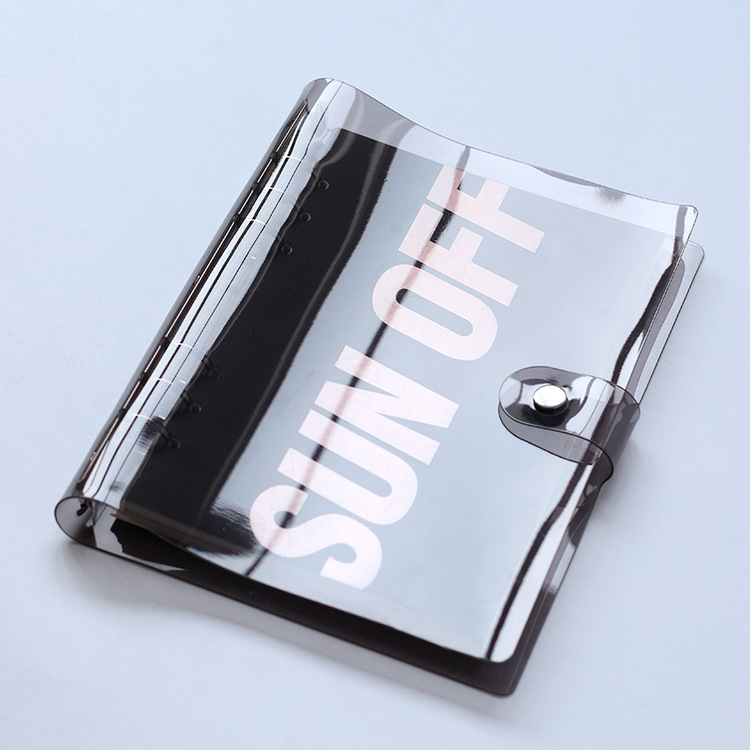 Из прозрачного ПВХ спираль повестки дня Traveler журнал Тетрадь основа школы DIY 6 отверстий связующего дневник планировщик крышка A5 A6