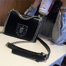 2017 Fashion Women Handbags Genuine Leather Diamonds Chains Hand Bag Flap Shoulder Messenger Crossbody Cow Leather Black Bags цена 2017
