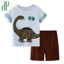 Toddler Boys summer clothes Cartoon Dinosaur O-Neck T-Shirt+Shorts Cotton Set Children Clothes tracksuit kids 2 3 7 years цена 2017
