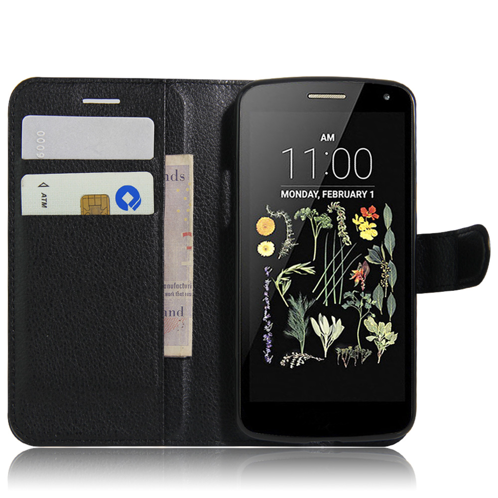 For Lg K5 Case Cover Fashion Luxury Filp Lychee Leather Wallet Headset Earphone Sport Fonge Mic Headphones Fg S500 Stand Phone Cell Phones