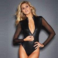 Gothic Vrouwen Rits Mesh Lange Mouw Bodysuits 3xl Vinyl Lederen vrouwen Catsuits Sexy Zwarte Stuk turnpakje