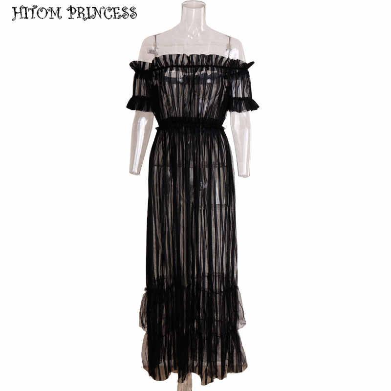 HITOM Принцесса летнее женское длинное Макси платье из прозрачной сетки с открытыми плечами платья Прозрачная оборка Клубное сексуальное вечернее платье vestidos