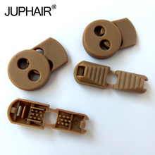 JUP 1-50 Sets Khaki Flat Buckle Elastic Shoes Buckles Hole Plastic Stopper Toggle Clip Apparel Shoelaces Sportswear Accessories