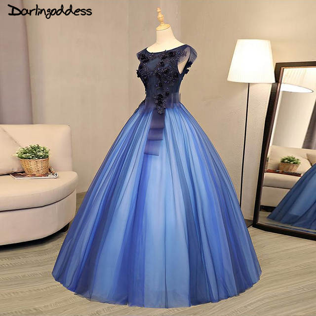 placeholder Luxury Ball Gown Wedding Dresses Arabic 2017 Royal Blue  Princess 3D Flowers Beading Tulle Wedding Gowns ed6b29bd2d92