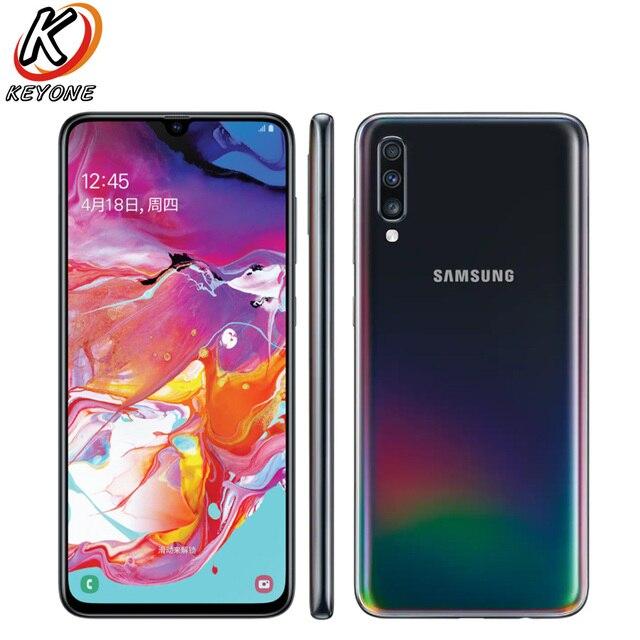"""Marka yeni Samsung Galaxy A70 A7050 cep telefonu 6.7 """"8GB RAM 128GB ROM Snapdragon 675 Octa çekirdek 20:9 su damlası ekran NFC telefon"""