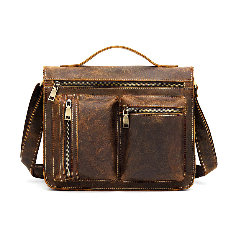 Crazy Horse Leather Mens Bag Handmade Tide Mens Retro Leather One Shoulder Portable Diagonal Computer Bag BriefcaseCrazy Horse Leather Mens Bag Handmade Tide Mens Retro Leather One Shoulder Portable Diagonal Computer Bag Briefcase