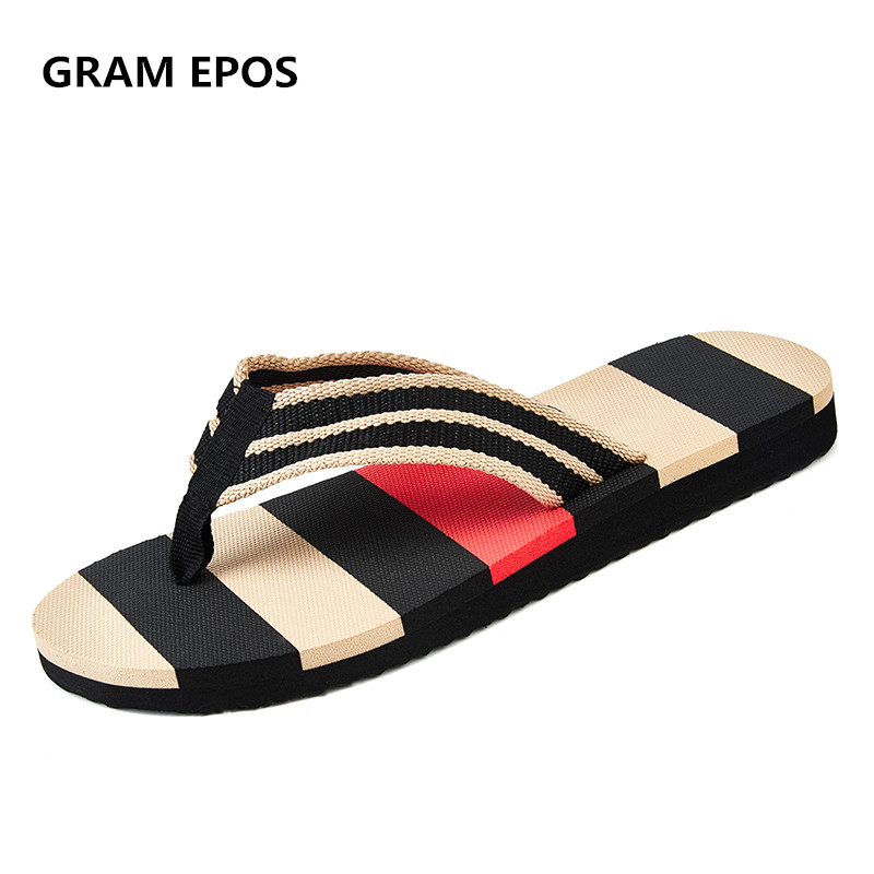 GRAM EPOS Man strip flip flops Summer Slippers For School Street Casual Walking Seaside Beach Soft Non-slip Bottom Stylish Flats lanshulan bling glitters slippers 2017 summer flip flops platform shoes woman creepers slip on flats casual wedges gold