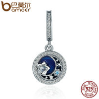 BAMOER High Quality 100 925 Sterling Silver Moonlit Star Blue Enamel Pendant Charm Fit Charm Bracelet