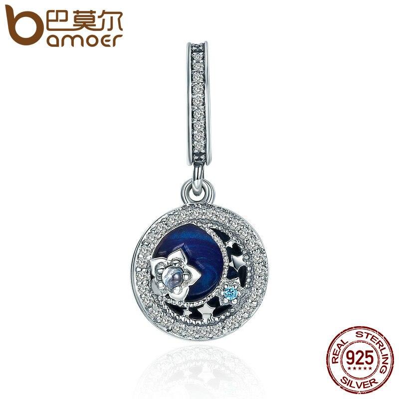 BAMOER High Quality 100% 925 Sterling Silver Moonlit Star Blue Enamel Pendant Charm fit Charm Bracelet Jewelry Making SCC396