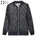 ХИ ГРАНД Chaquetas Mujer 2016 Женщины Куртка Черный/Белый Кружева Цветочные Короткие Дизайн Лето Мода Повседневная Куртки WWJ338