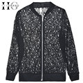HEE GRAND Chaquetas Mujer 2016 Women Jacket Black/White Lace Floral Short Design Summer Fashion Casual Jackets WWJ338