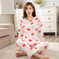 women Autumn Winter Flannel Round Neck Pajamas Sets thickening Cute girl series Long sleeved trousers Indoor Clothing nightgown