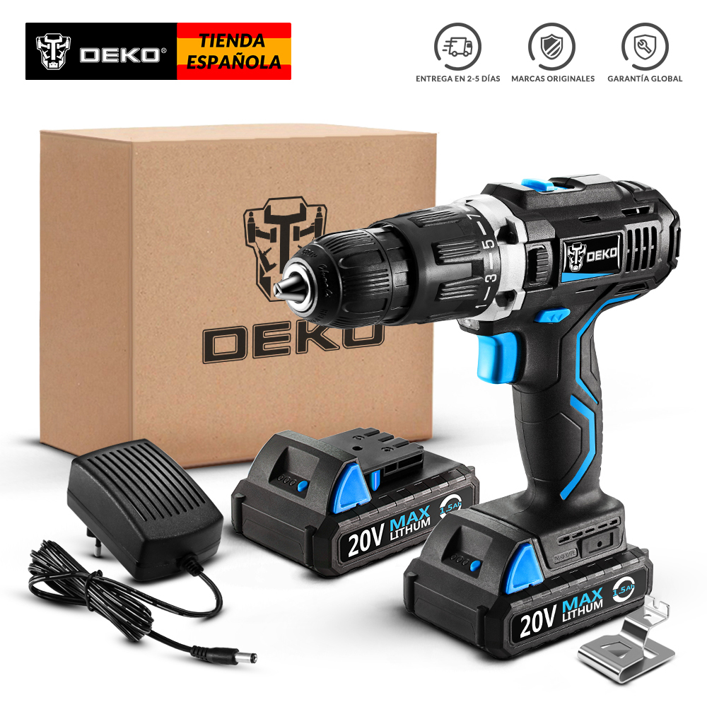DEKO GCD20DU3 20V MAX Cordless Drill Electric Screwdriver Lithium-Ion Mini Power Driver Variable Speed LED 2 Batteries