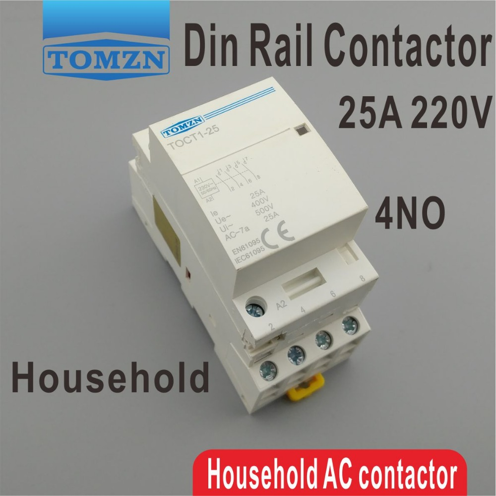 Contator modular 4no da c.a. do agregado familiar do trilho do ruído de toct1 4 p 25a 220 v/230 v 50/60 hz