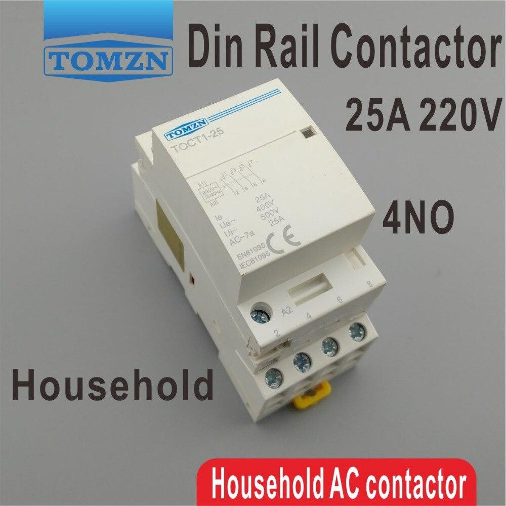 TOCT1 4P 25A 220 В/230 В 50/60 Гц Din рейка, бытовой модульный контактор переменного тока 4NO modular contactor contactor acac contactor   АлиЭкспресс