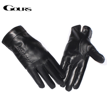 Gours Genuine Leather Gloves for Men Fashion Brand Real Sheepskin Weave Black Touch Screen Gloves Warm Winter Mittens New GSM055