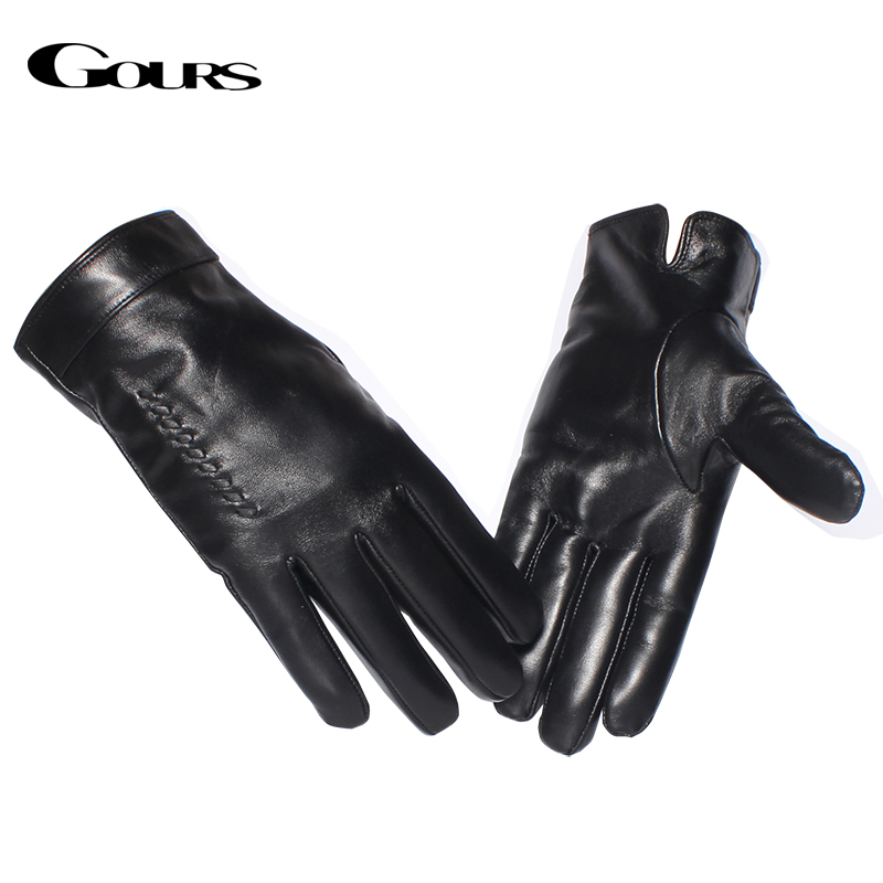 Gours Genuine Leather Gloves for Men Marchio di moda Vera pelle di pecora Tessuto Nero Touch Screen Guanti Inverno caldo Mittens Nuovo GSM055