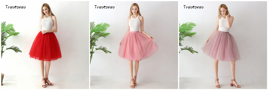 Streetwear 7 Layers 65cm Midi Pleated Skirt Women Gothic High Waist Tulle Skater Skirt rokjes dames ropa mujer 19 jupe femme 17