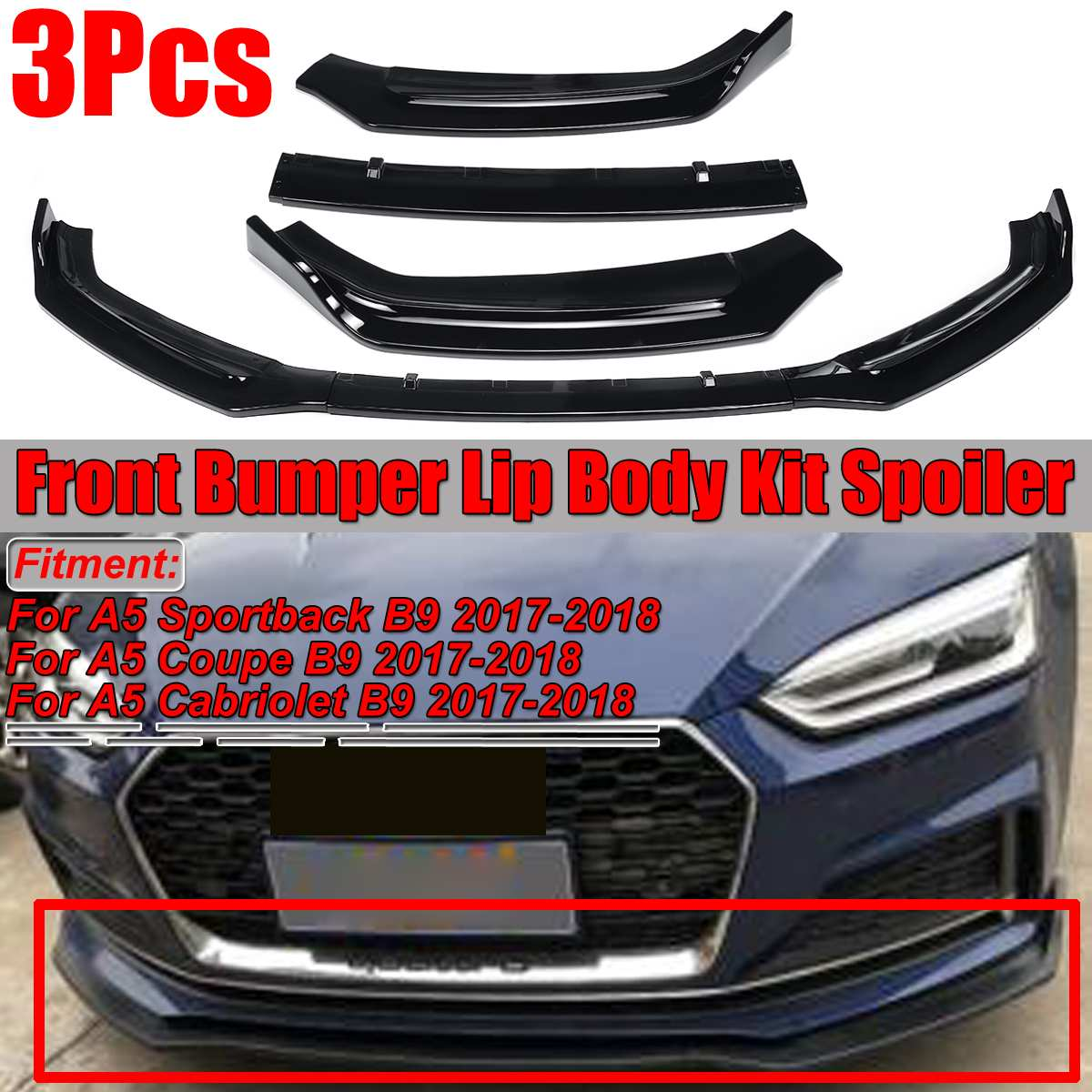 For Audi A3//A4 Sedan 2017 2018 Gloss Black ABS Front Bumper Lip Cover Trim 3Pcs