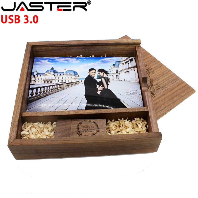 JASTER USB 3.0 FREE LOGO Maple Photo Album Usb+Box Flash Drive Pendrive 4G 16GB 32GB 64GB Photography Wedding Gift 170*170*35 Mm