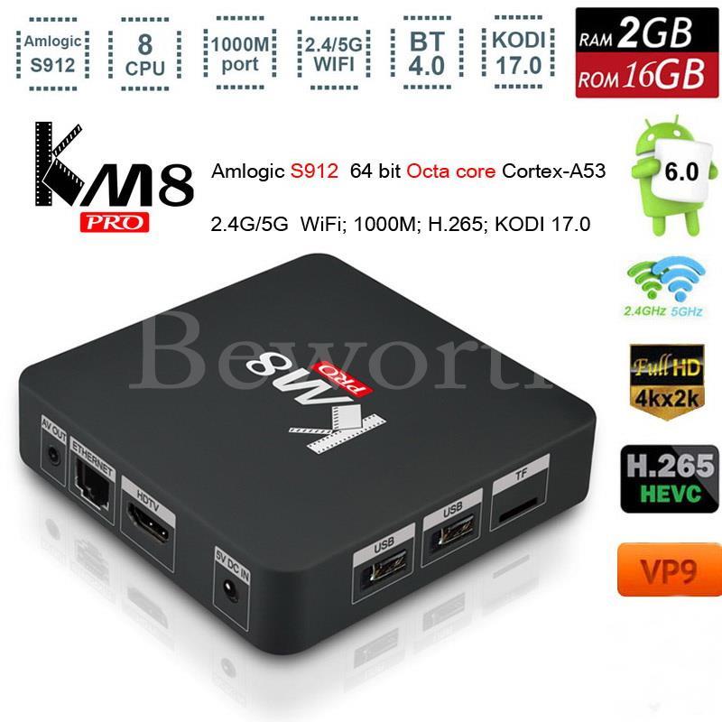 KM8 Pro Smart TV Box Android 6.0 2GB 16GB Amlogic S912 Octa Core 4K Streaming Media Player Mini PC Kodi 17.0 IPTV Wifi Bluetooth zidoo x6 pro mini pc android 5 1 tv box rk3368 octa core 2gb 16gb gigabit ethernet hdmi 4k kodi 16 0 aluminium eurpean iptv box