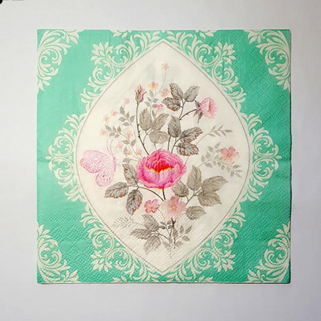 20 Vintage Tisch Papier Serviette Tissue Decoupage Grau Grun