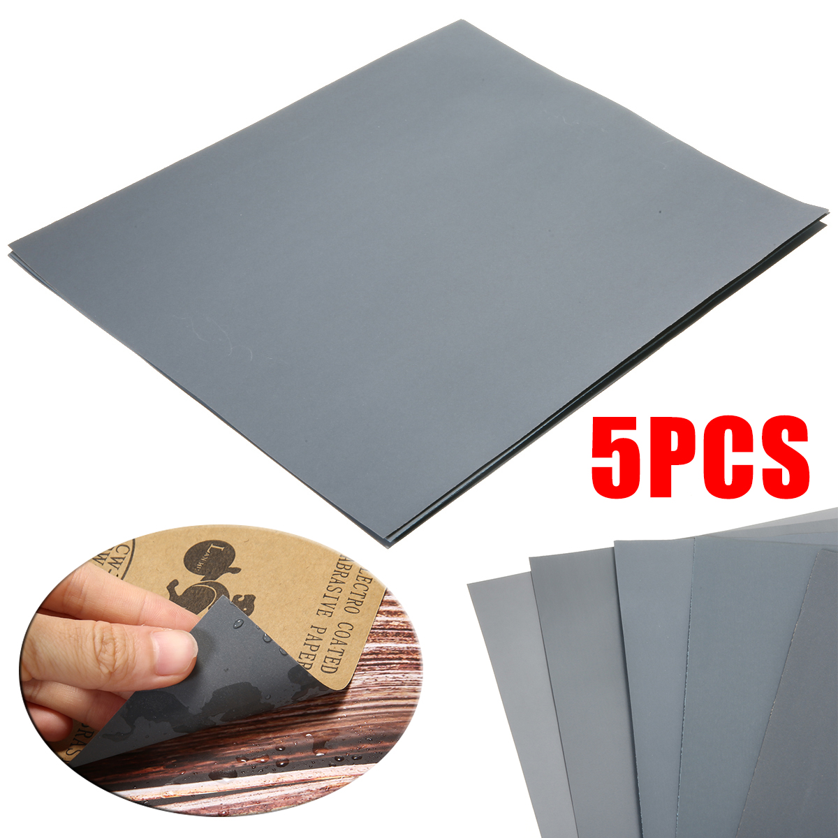 5Pcs Waterproof Sand Papers Wet And Dry Sand Paper Mixed Assorted Grit 2000 2500 3000 5000 7000 For Car Paint Varnish Filler