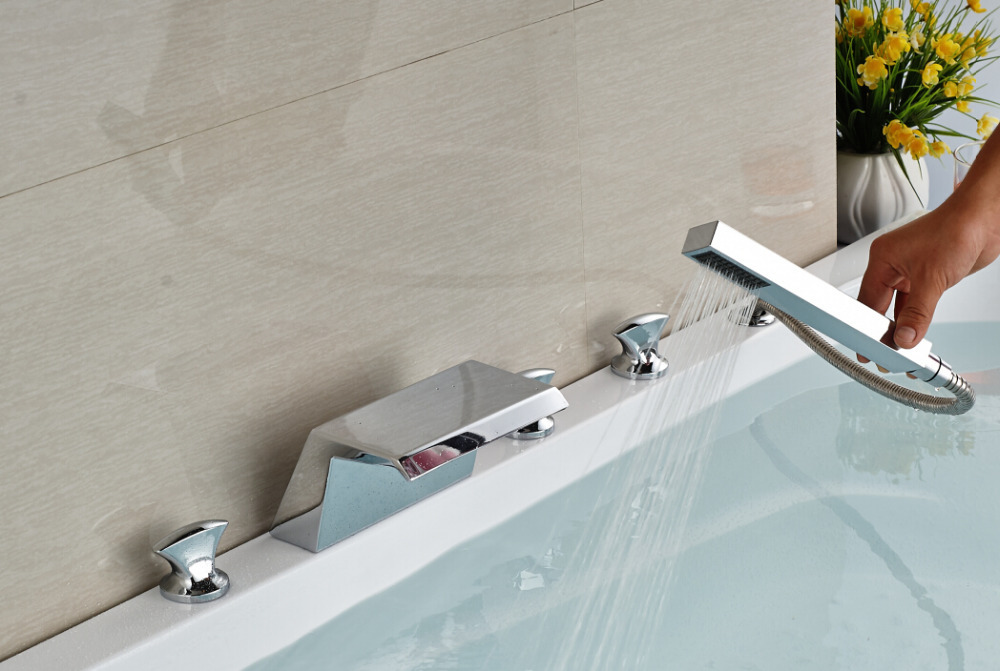 цена на Brief Decke Mounted Chrome Finished Bathroom Waterfall Shower Faucet With Hand shower