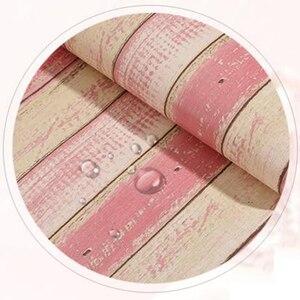 Image 5 - Винтажные деревянные полосатые обои, Современные Простые обои для гостиной, спальни, кабинета, домашний декор, самоклеящиеся водонепроницаемые настенные рулоны наклеек из ПВХ