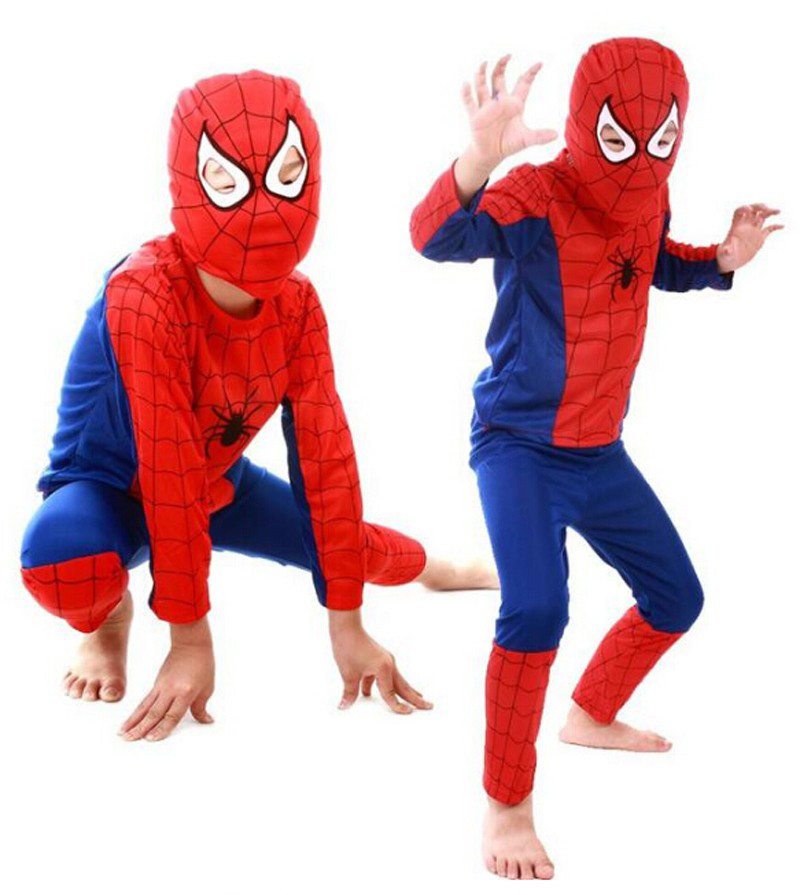 Red Spiderman Cosplay Kids Costume Black Batman Superman Halloween Costumes For Boy Girl Superhero Capes Anime Carnival Suit