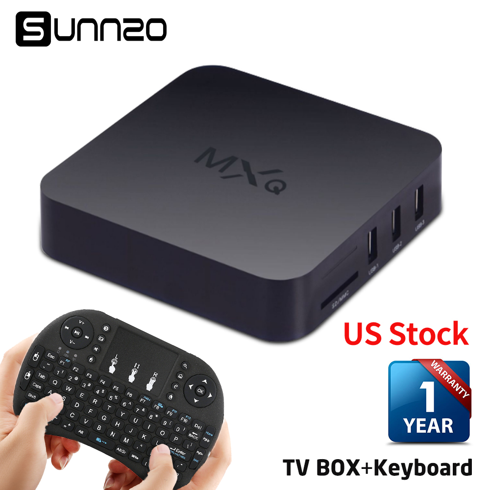 Set-top Box MXQ 4K TV BOX Amlogic S805 Quad Core 1+8GB Unlocked Android Fully Loaded Kodi Streaming Media Player + USB Keyboard m8 fully loaded xbmc amlogic s802 android tv box quad core 2g 8g mali450 4k 2 4g 5g dual wifi pre installed apk add ons