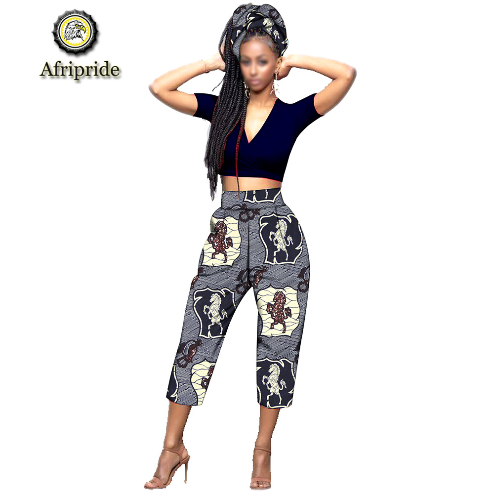 2019 AFRIPRIDE african Calf Length pants with scarf africa clothes for woman bazin riche Appliques design straight S1921003 in Pants amp Capris from Women 39 s Clothing