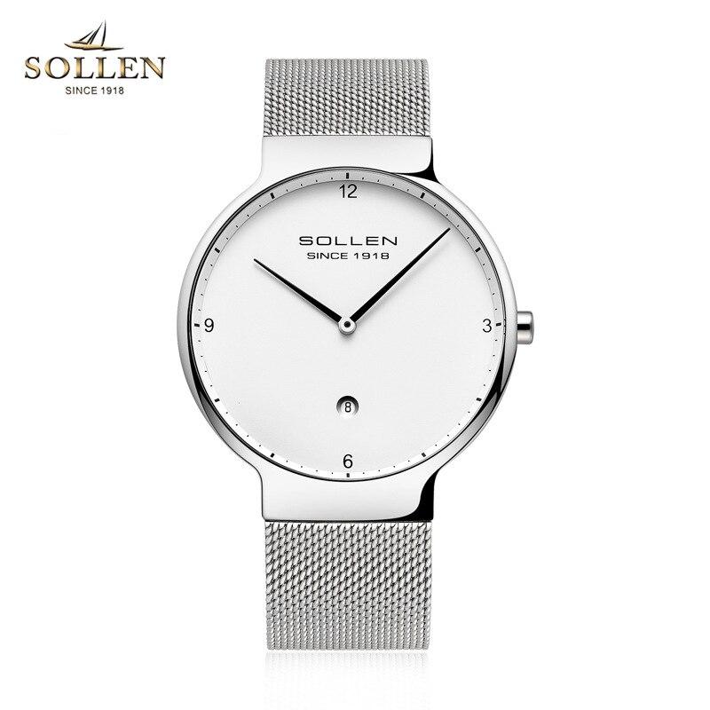 SOLLEN New Luxury Brand Silver Mesh belt Quartz Men Watch Fashion Ultra Thin Business Watches Wristwatches relogio feminino new fashionable men business silver belt gear quartz watch