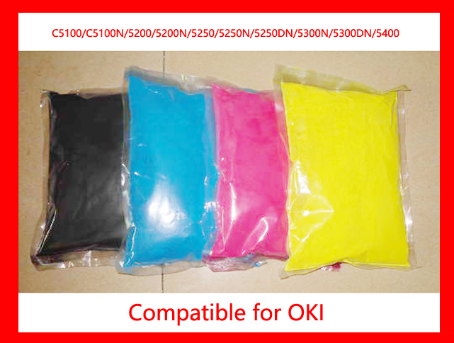 High quality color toner powder compatible for OKI C5100/C5100N/5200/5200N/5250/5250N/5250DN/5300N/5300DN/5400 Free shipping powder for oki data c9650 n for oki data c 9800mfp for oki 9850 n powder black reset printer powder free shipping