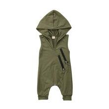 Newborn Toddler Baby Boys Girls Hooded Sleeveless Zipper Romper Jumpsuit Playsui