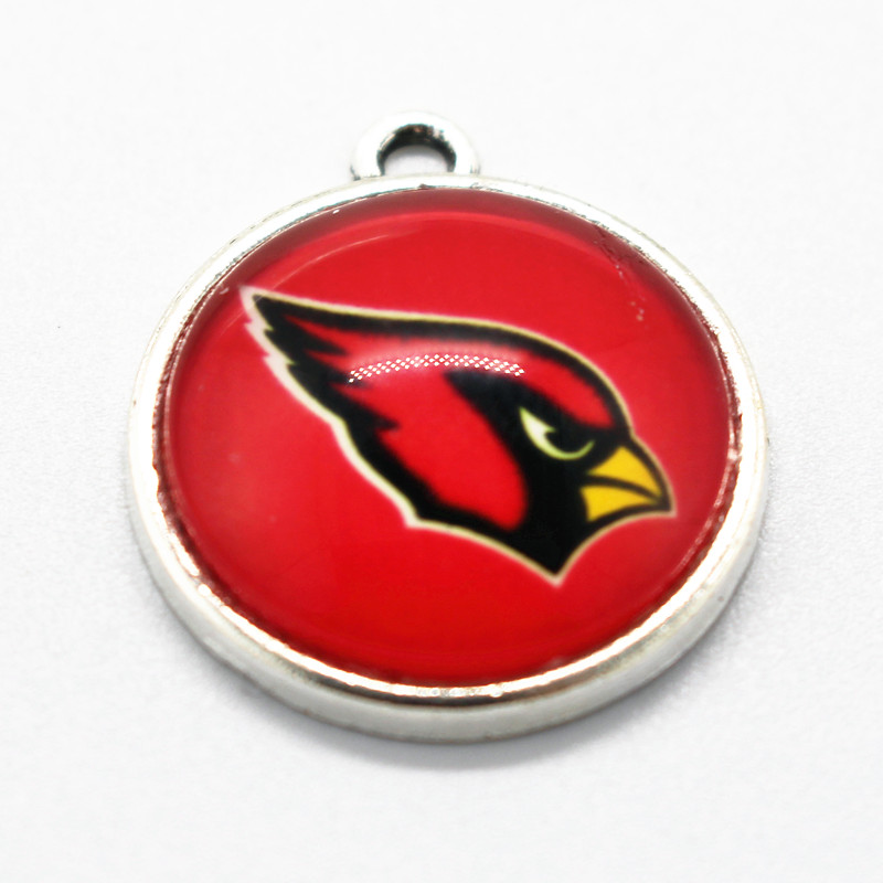 New Arrival 10pcs/lot Football Arizona Cardinals Glass Pendant Hanging Dangle Charms Sports Floating Charms DIY Necklace