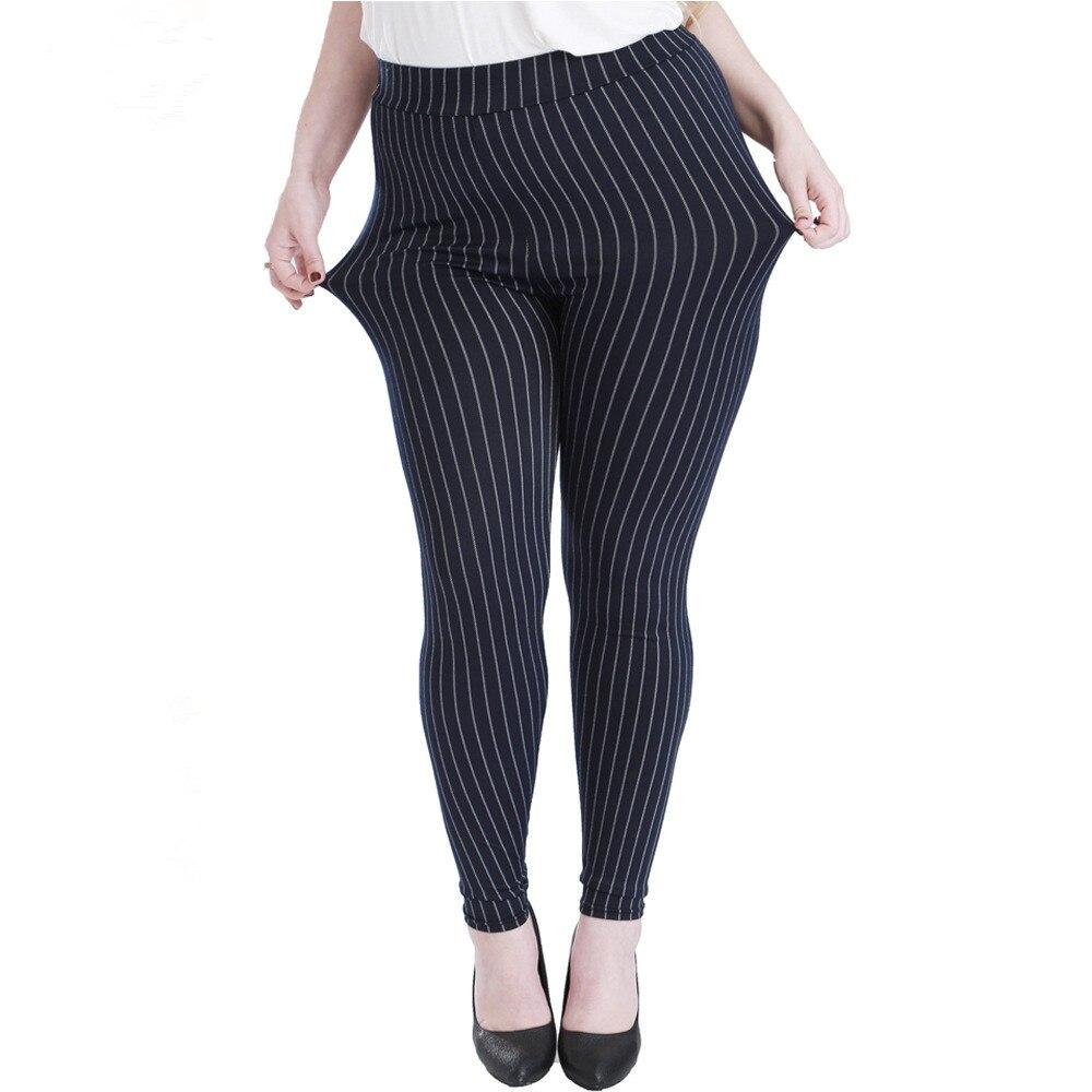 Spring Autumn Women High Waist Elasticity Leggings Plus Imitation Jeans Vertical Stripes Sexy Large Size 5XL Pant Denim Legging