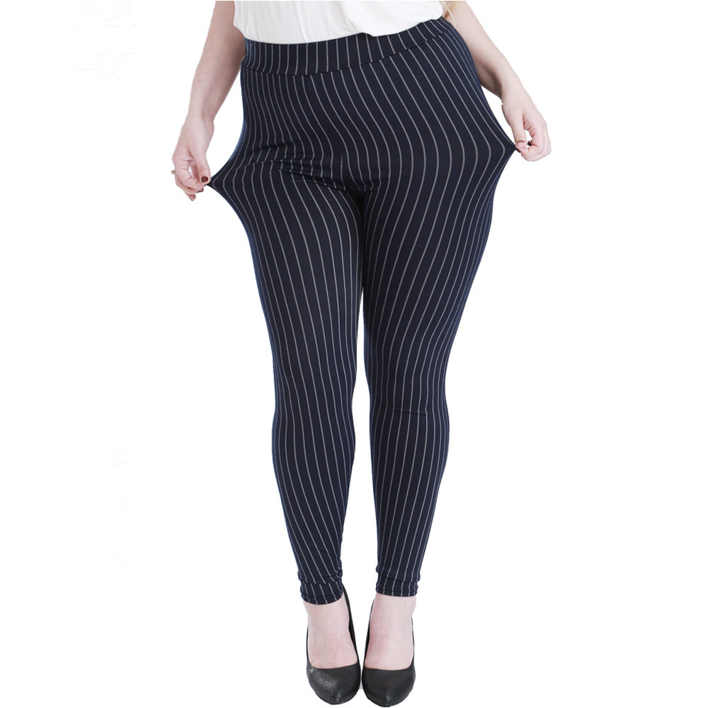Spring Autumn Women High Waist Elasticity   Leggings   Plus Imitation Jeans Vertical Stripes Sexy Large Size 5XL Pant Denim   Legging
